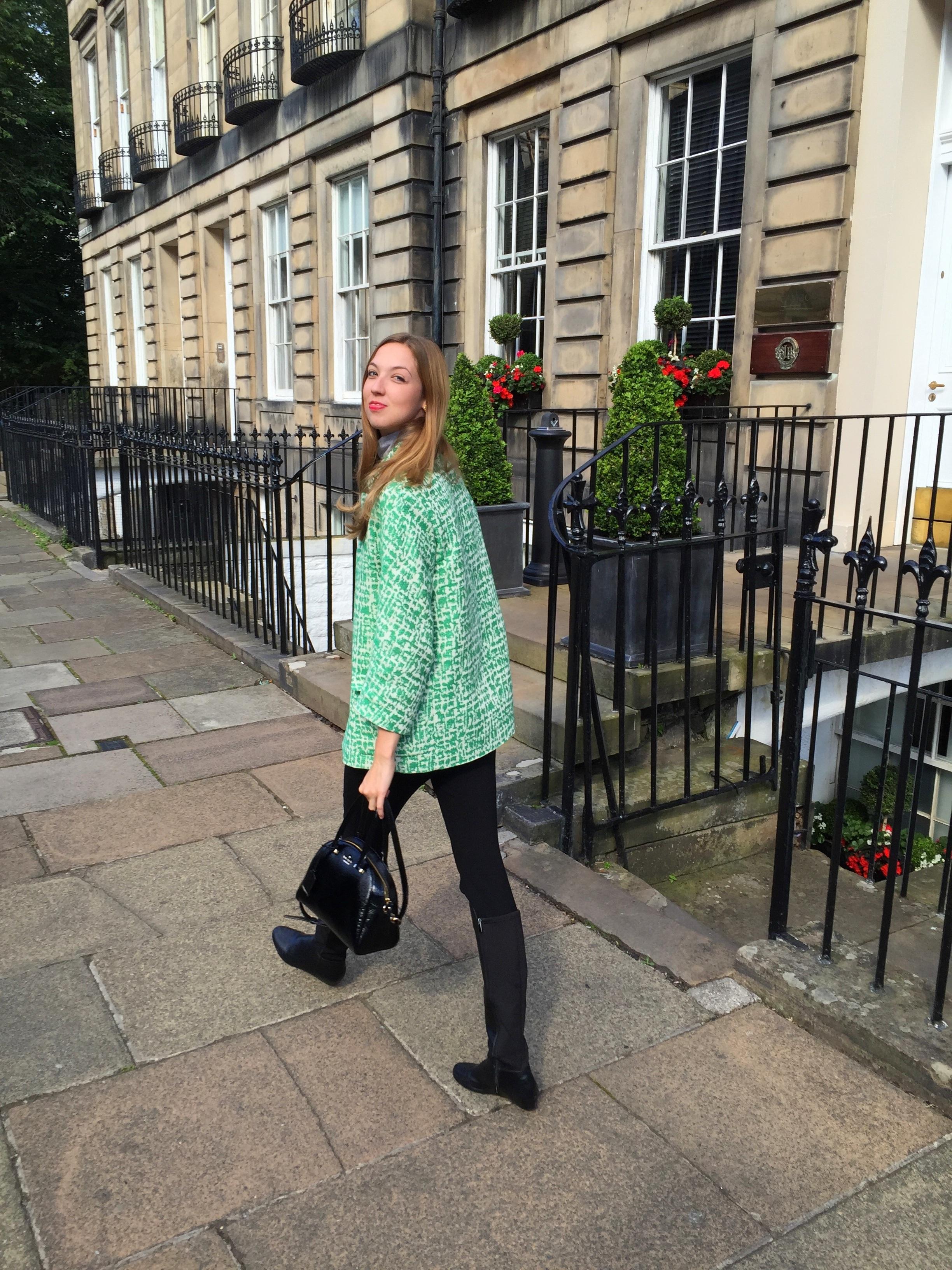 Green coat from Zara in Scotland
